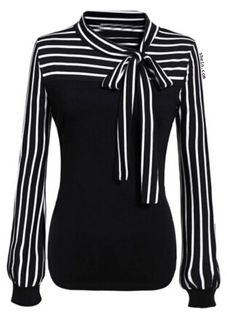 Black White Tie-neck Striped Blouse