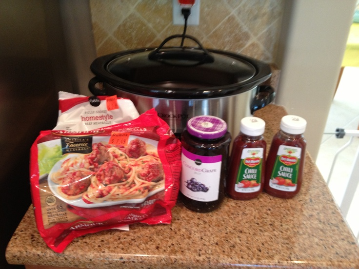 Easy party food: 80 meatballs + large grape jelly + 2 chilli sauces in crockpot for 3 hours.