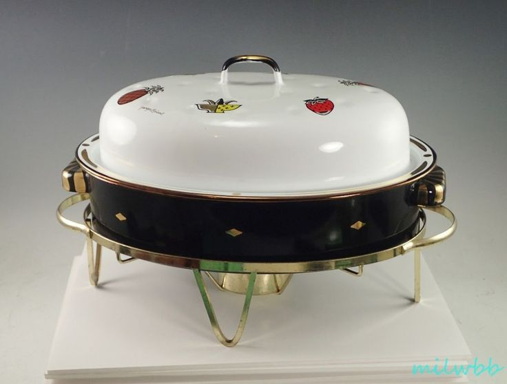 Georges Briard Ambrosia Enamelware Mid Century Modern Chafing Dish With Base #GeorgesBriard