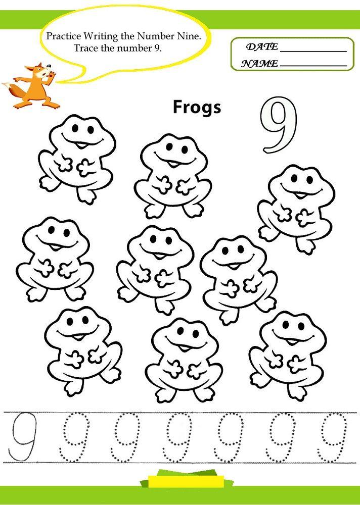 Number 9 Worksheet Frog In 2020 Numbers Kindergarten Kindergarten Worksheets Number Tracing