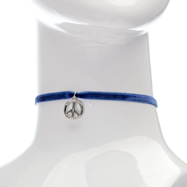 Made in New Zealand awesome #Nepogodova Blue Velvet Ribbon Choker with Peace Sign Charm - Price: NZ$ 35.00. Buy now at https://www.nepogodova.co.nz/blue-velvet-ribbon-choker-with-peace-sign-charm