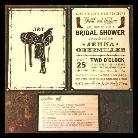 Rustic, Western, Cowboy Bridal Shower Invitation for Wedding