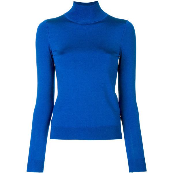 Pringle Of Scotland slim-fit roll neck top ($270) ❤ liked on Polyvore featuring tops, blue, slimming tops, blue top, rayon tops, viscose tops and pringle of scotland
