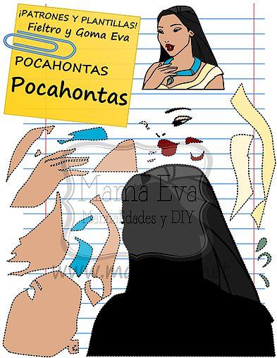 Descarga gratis nuestras plantillas para goma eva y fieltro de tus personajes favoritos: Pocahontas, John Smith, Meeko, el gran Jefe Powatan...