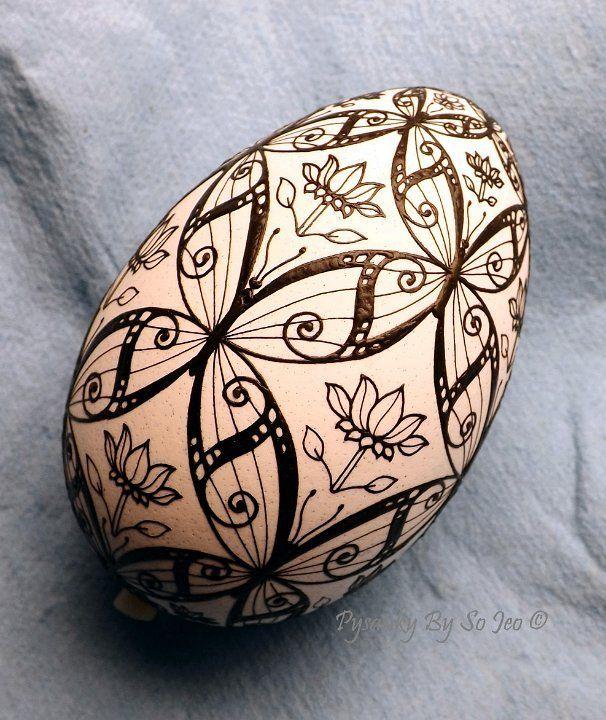 Blue Morpho BUtterflies Ukrainian Easter Egg Pysanky By So Jeo