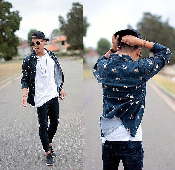 hat baseball cap , printed shirt , black jeans , tennis shoes sneakers , summer