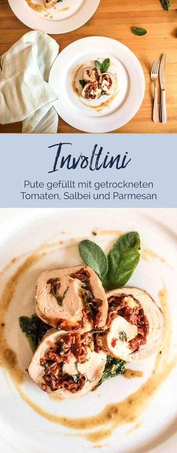 Puten-Involtini gefüllt mit getrockneten Tomaten, Salbei und Parmesan 500 g Putenschnitzel ca. 2-3 große Schnitzel ca. 12 Salbeiblätter 50 g halbgetrocknete Tomaten 50 g Parmesan (ganzes Stück) Salz, Pfeffer Olivenöl 50-100 ml Sahne 1 EL Kapern 2 Knoblauchzehen #involtini #geflügel #foodblogger #tomaten #fleisch #italianfood