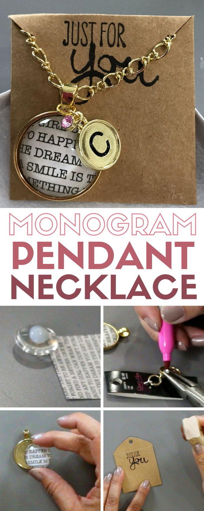 Monogram Pendant Necklace | Beautiful DIY Jewelry | Gold | Handmade Gift | Round | Video Tutorial