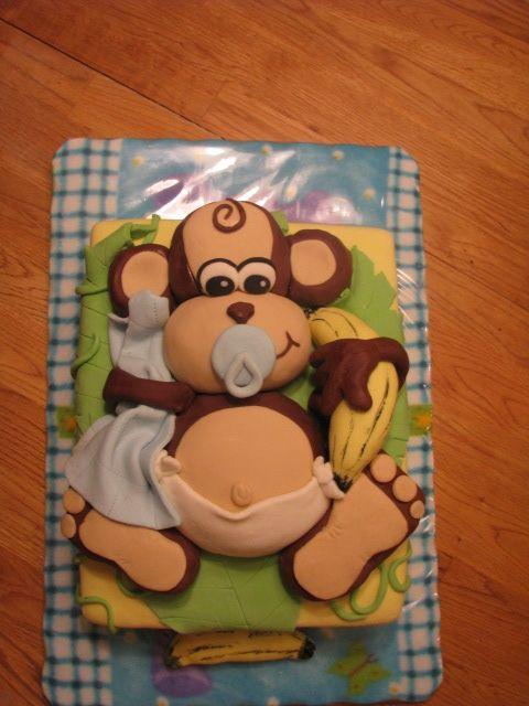 baby shower cake....monkey theme! http://modernbabyshowers.blogspot.com