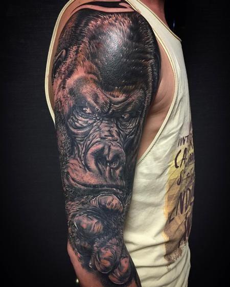 Tattoos - Realistic Gorilla Black and Gray - 123337