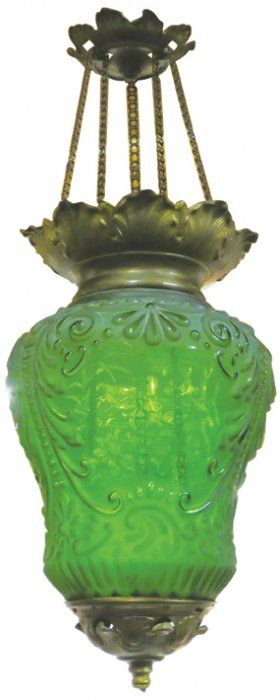 Beautiful Victorian Adjustable Hanging Lamp. Candle lit, embossed and etched green glass. Duck pond motif. No chips or cracks. 12 inches tall without chain.
