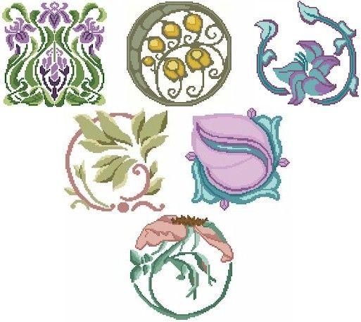 Art Nouveau cross stitch patterns