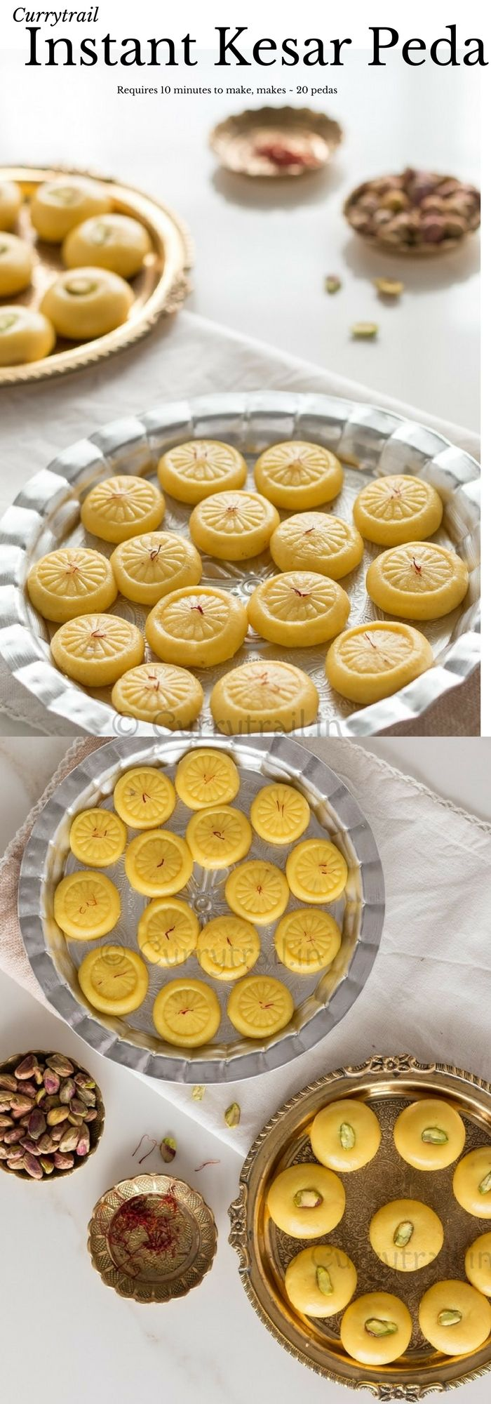Instant Kesar Peda | Saffron Infused Milk Fudge