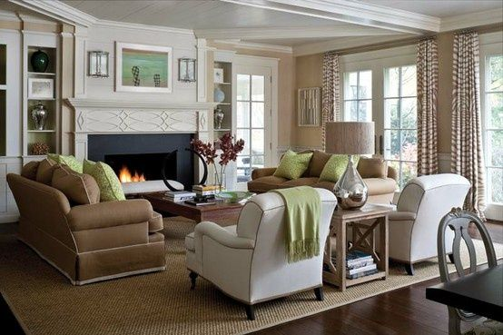 in love with this family room color palette fireplace