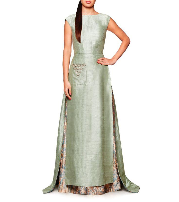 Sage Green Gota Patti Raw Silk Falak #Jacket & Nayana #Sharara by #Anita Dongre