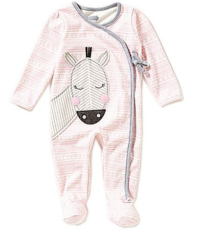 Mud Pie Baby Girls 39 Months ZebraAppliqued MixedPrint Footed Coveralls #Dillards