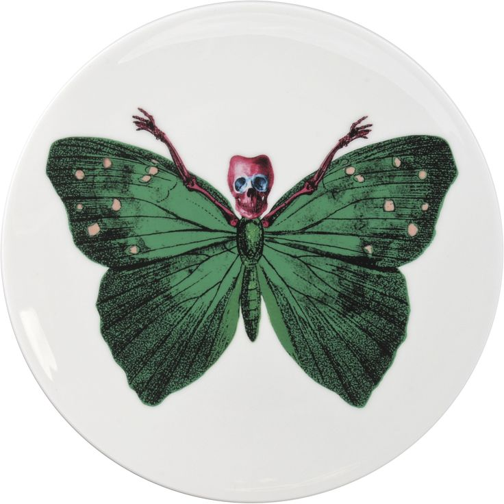 Vibrant Green 'Crudus' Cake Plate designed by Maxim from The Prodigy for his edgy 'Lepidoptera' collection. A range that is based on imagery drawn from his wonderful paintings. Plate can be used equally at home on a wall or table as it represents both a functional item and an art piece. Fine Bone China. 22kt Gold Accents. One of six designs. Made in Stoke-on-Trent, England. Find out more here: https://thenewenglish.co.uk/collections/lepidoptera/products/lepidoptera-crudus-cake-plate…