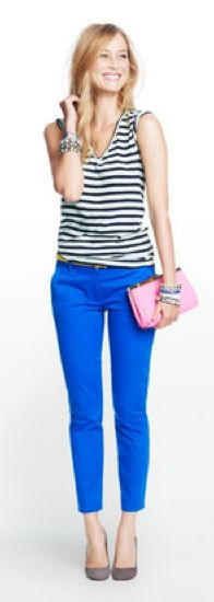 Striped top, cobalt blue pants. My interpretation: http://looplooks.net/2013/08/27/wearing-blues/