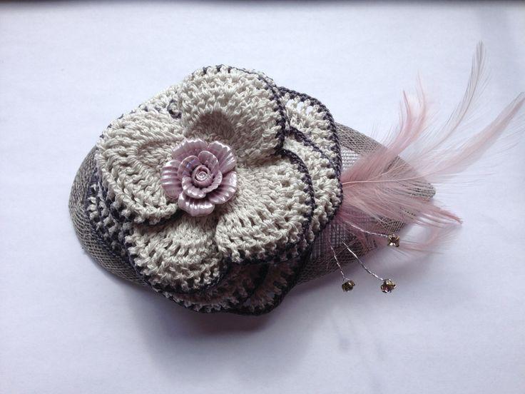 Teardrop headpiece in silver with crochet flower & lilac details www.etsy.com/people/hookcrochet