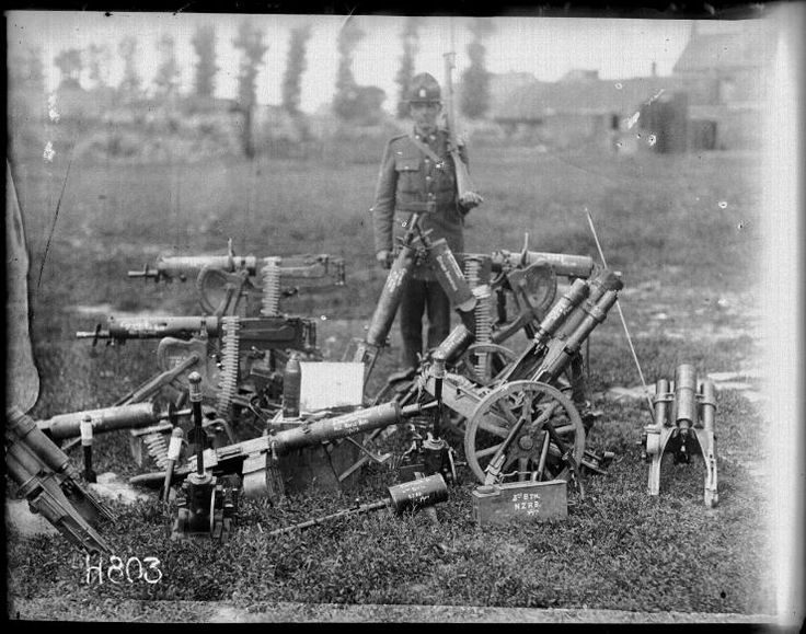 WWI, June 1917; MG'08 and MG '08/15 Maxim Guns and several trench mortars, captured by New Zealand troops at Messines. Silent Sentinels - Dr Aaron Fox