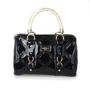 Versace Quilted Greek Key Patent Boston Bag - Black