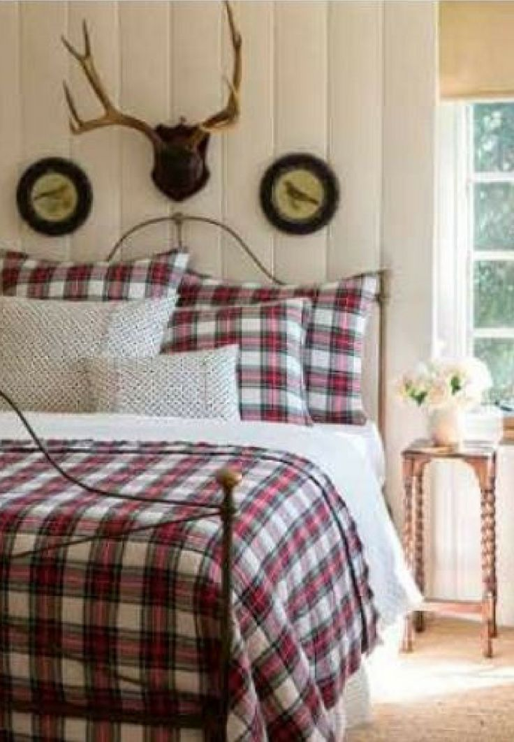 Classic plaid bedding set red white and green aberdeen
