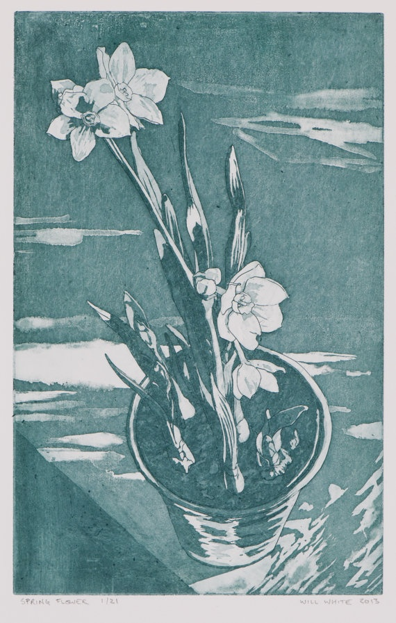Spring Flower Etching Print by williamwhiteart on Etsy, $80.00