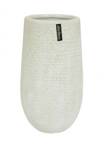 Moderní baňatá keramická váza v bílé barvě je vhodná k aranžování květin. Můžete ji kombinovat s ostatními vázami a květináči ze série Dracia a dalšími produkty z naší nabídky.