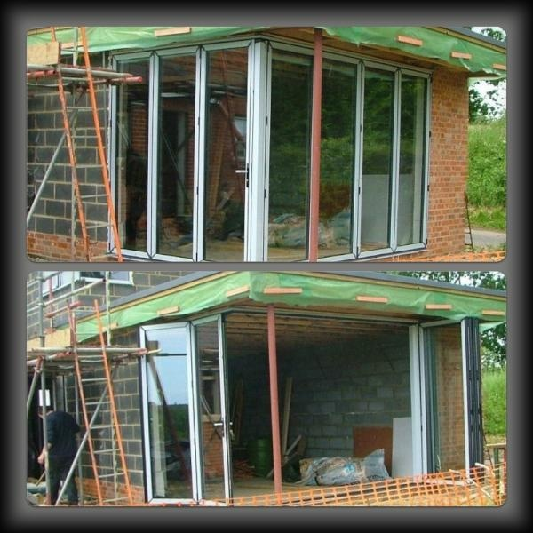 Work in progress L -shaped Bi-fold doors - opens up the whole room, bringing the outside in!