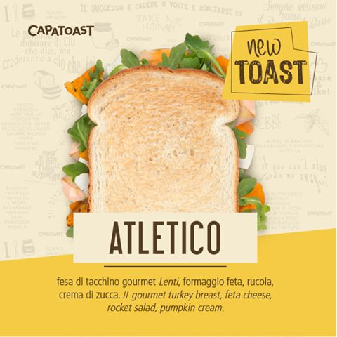 Da Capatoast sono arrivati nuovi Toast! 😮 Tra questi l'ATLETICO farcito con fesa di tacchino, formaggio feta, rucola e crema di zucca. É LIGHT! 🍞❤