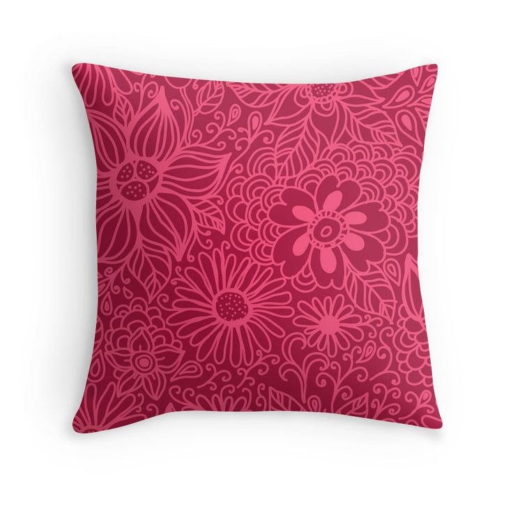 """""""Seamless texture with flowers"""" Throw Pillows by smotrivnebo   Redbubble"""