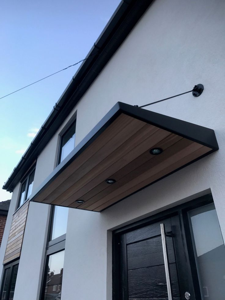 Metal Door Canopy With Cladding And Entrance Light For