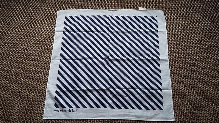 Marimekko Finland Vintage Blue and White Scarf Stripes Pattern #Marimekko
