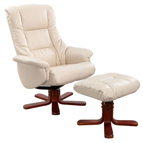 Chicago Cream Leather Faced Recliner Chair With Footstool