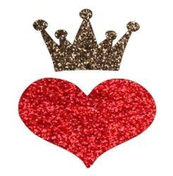 Hart met kroon glittertattoo sjabloon