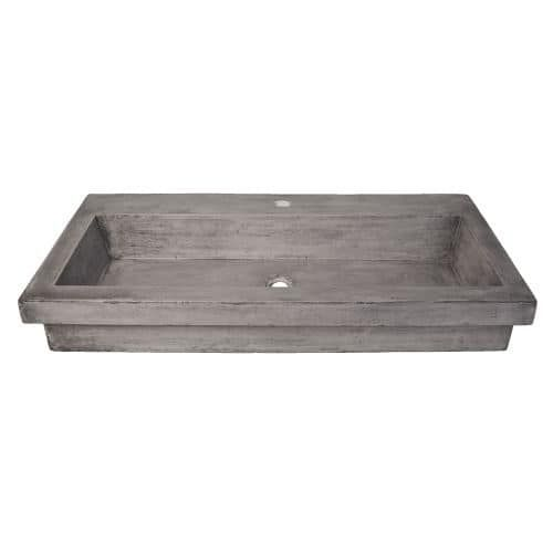 """Native Trails NSL3619 Trough 36"""" NativeStone Drop In Bathroom Sink with 1 Hole Drilled"""
