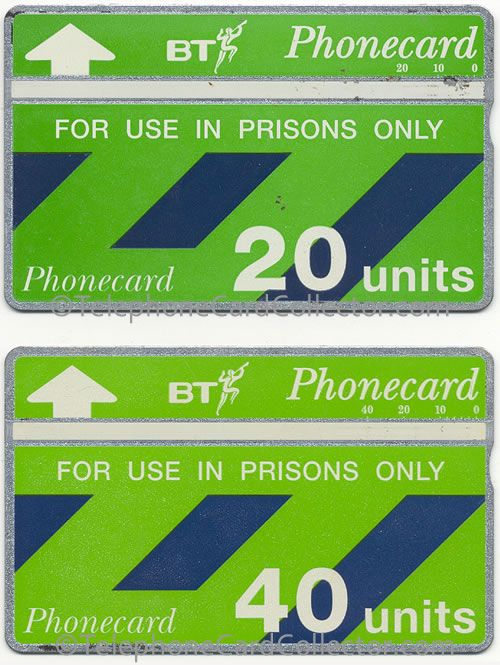 Last Prison BT Phonecard design - the cards  pictured above are of varying shades (the 40 unit is a lighter green). In addition neither cards control number appears in the UK 1 catalogue. 20 unit control number: 202B00048. 40 unit control number: 110C13677. Both I suspect were produced in Landis & Gyr's Zug factory in Switzerland.