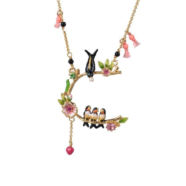 European fashion jewelry les nereides Swallows flower 24k gold plated Necklace party jewelry