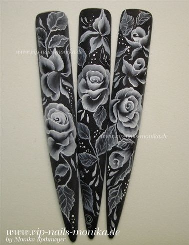 black and white, One Stroke Roses by vipnailsmonika - Nail Art Gallery nailartgallery.nailsmag.com by Nails Magazine www.nailsmag.com #nailart