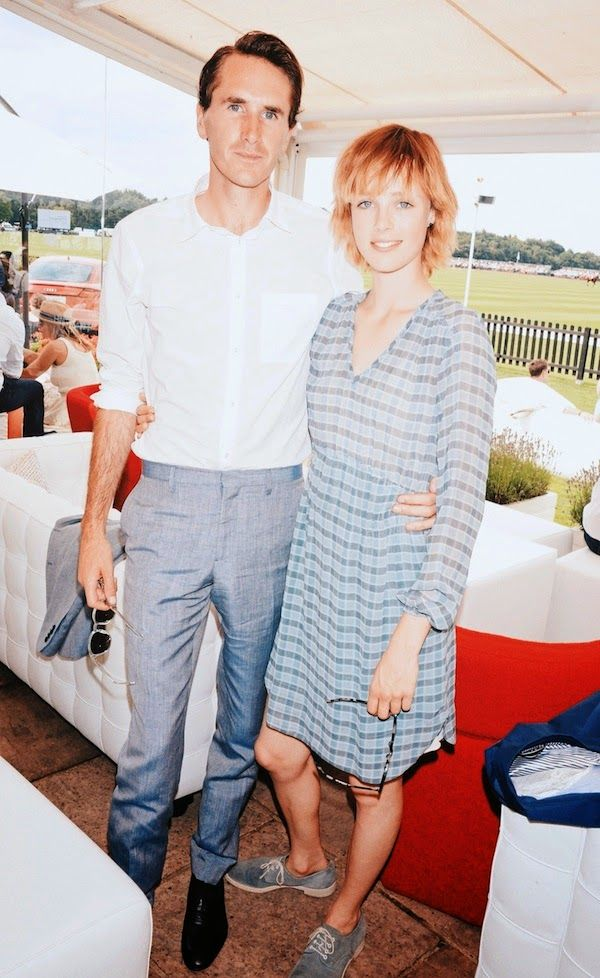 Edie Campbell and Otis Ferry in Burberry - 2014 Audi Polo at Guards Polo Club http://www.whats-he-wearing.com/2014/07/edie-campbell-and-otis-ferry-in-burberry-2014-audi-international-polo.html