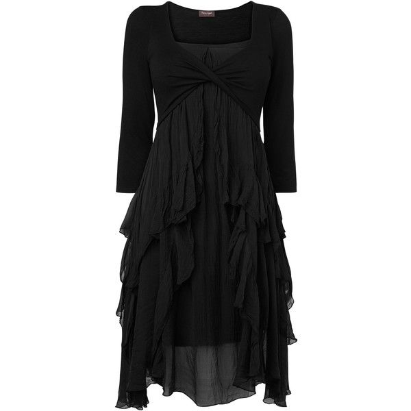Phase Eight Kells silk jersey dress (€67) found on Polyvore featuring dresses, black, women, black flounce dress, flounce dress, silk jersey dress, 3/4 sleeve cocktail dresses and phase eight dresses