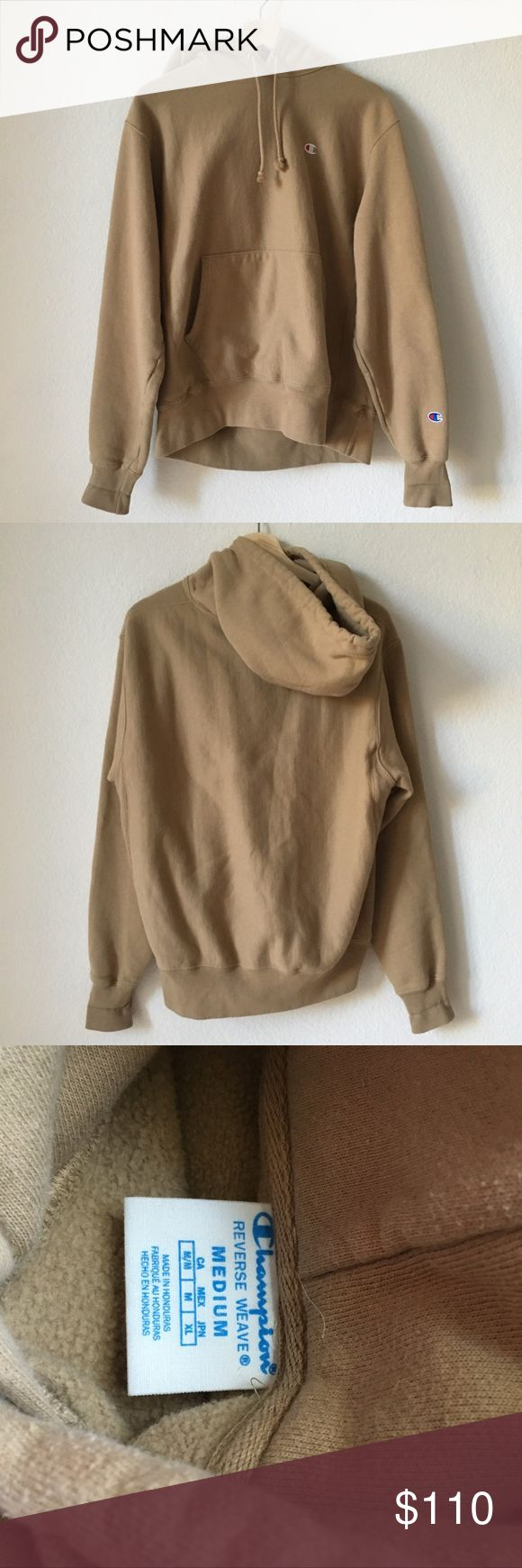 Champion x UO tan reverse weave hoodie Champion x Urban Outfitters Exclusive Reverse Weave Hoodie in tan / beige / brown color. Wrists have been folded and minimal piling. In excellent condition Champion Shirts Sweatshirts & Hoodies