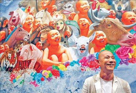 Fang Lijun. A bald truth. Cynical Realism, a movement which developed in China in the 1990s focusing on the analysis of Chinese socio-political history in the 20th century.