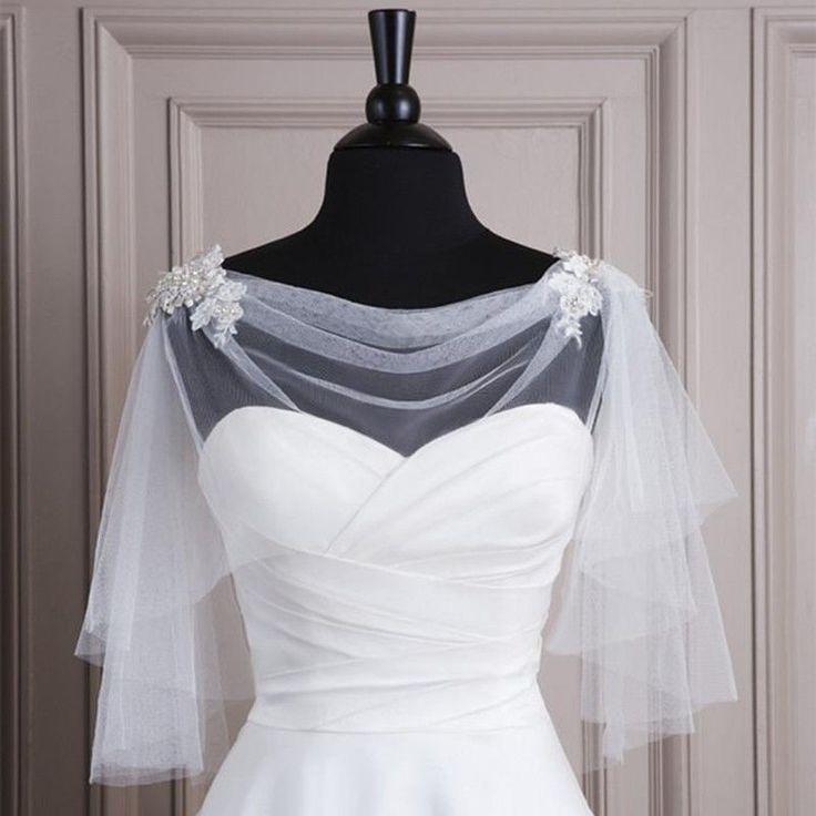 2015 Bridal Jacket Bolero Wedding Shawl Wraps Cape White/Ivory Shrug Soft Tulle