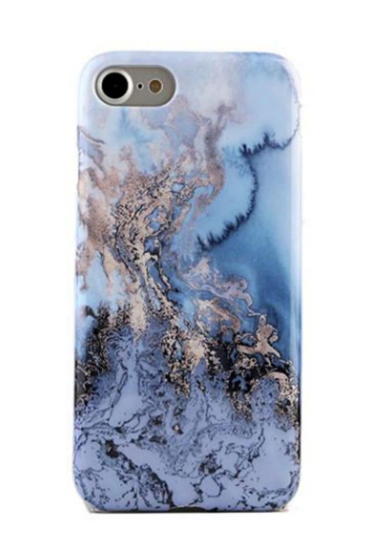 Protective Sapphire Sky printed marble phone case with a gloss finish. Iphone 7 Sapphire by Velvet Caviar. Accessories - Tech New York