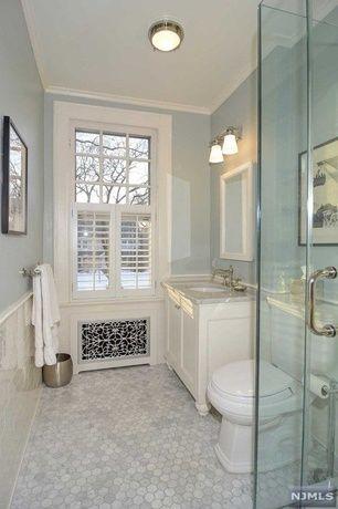 Traditional 3/4 Bathroom with Hexagon white carrera marble mosaic, Paint 1, three quarter bath, flush light, picture window