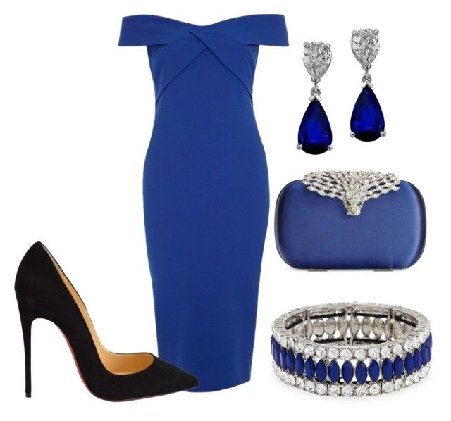 """Blue and black"" by taniamin on Polyvore featuring River Island, Christian Louboutin, La Regale, Kenneth Jay Lane, women's clothing, women, female, woman, misses and juniors"