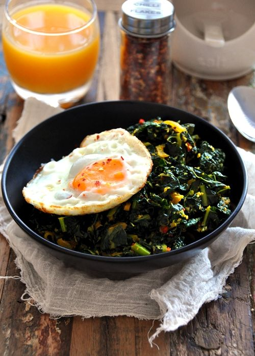 Kale Mallung - tempered kale with turmeric, dessicated coconut, mustard seeds etc. - a Sri Lankan home recipe