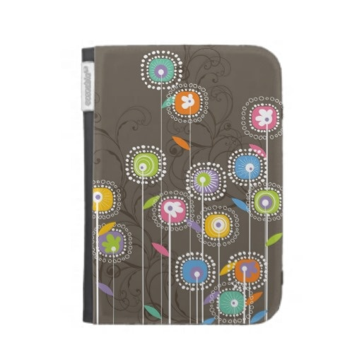 Colorful Abstract Retro Flowers Brown Background Kindle Cases