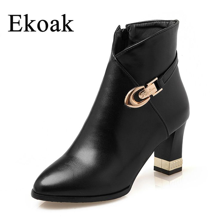 Ekoak Size 34-43 New 2016 Autumn Winter Boots Fashion Martin Boots Women Casual Leather Boots Buckle Warm Women Ankle Boots